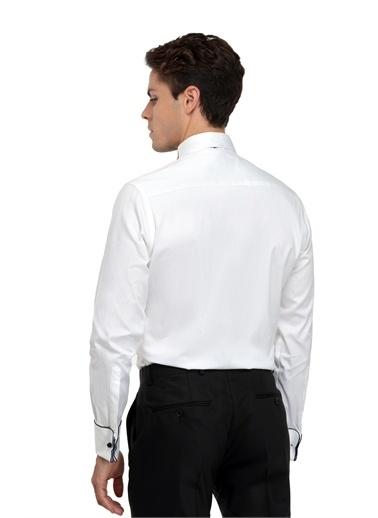 TWN Slim Fit Düz Smokin Gömlek Beyaz